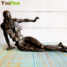 Bronze Abstract Character Sculpture Crafts Home Cafe Modern Theme Style Hotel Art Deco Decoration