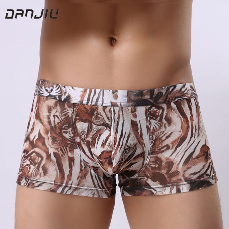 DANJIU Male Underwear Boxer-Shorts Transparent Leopard Sexy Breathable Mens Camouflage