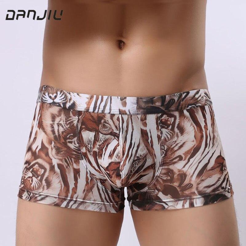Boxer Unterwäsche & Schlafanzug Danjiu Sommer Leopard Sexy Homosexuell Männliche Unterwäsche Dünne Atmungs Mann Boxer Shorts Camouflage Transparent Herren Low Waist Hose Sparen Sie 50-70%