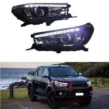 Передний Автомобильный светодиодный фары, пригодный для HILUX REVO 2015-2017 фар ангельские глазки сигнальная лампа головного света лампы Комплект для освещения автомобиля