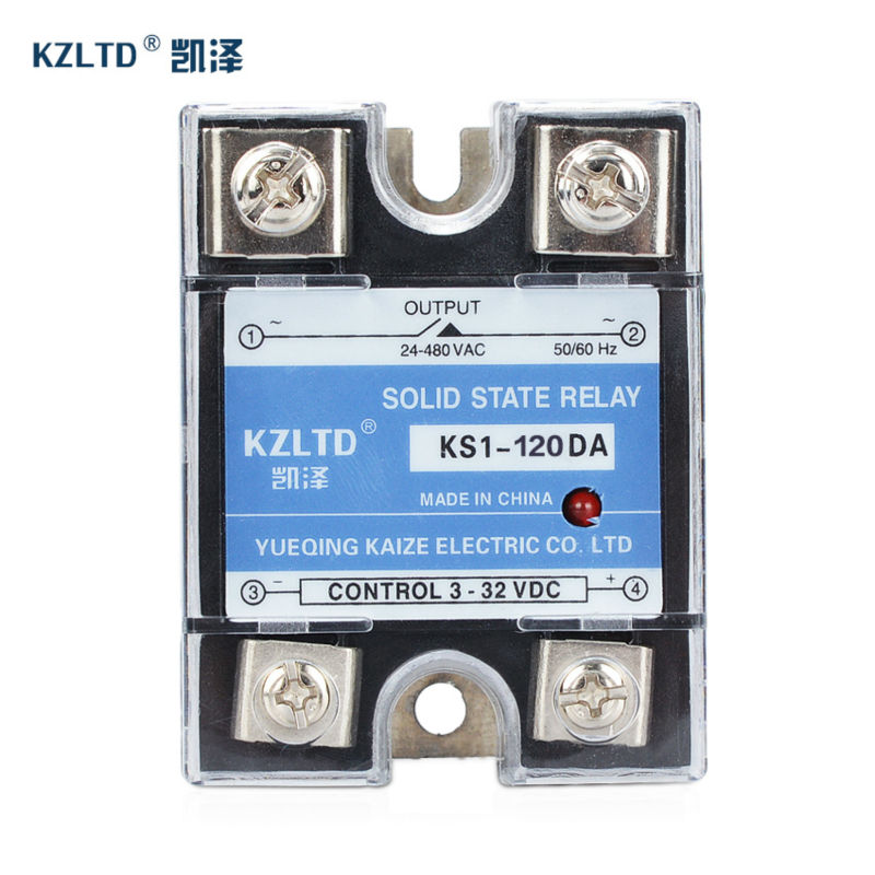 SSR-120DA Single Phase Relays Solid State SSR 20A 3~32V DC to 24~480V AC with Free Plastic Box Enclosure KS1-120DA