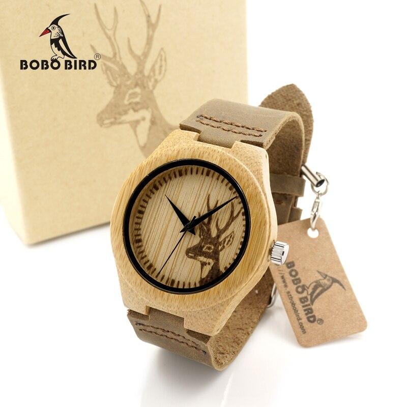 Prix pour Bobo bird f29 elk cerfs styles bambou bois montres femmes chaude de marque de luxe en cuir bande en bois montres carton boîte oem