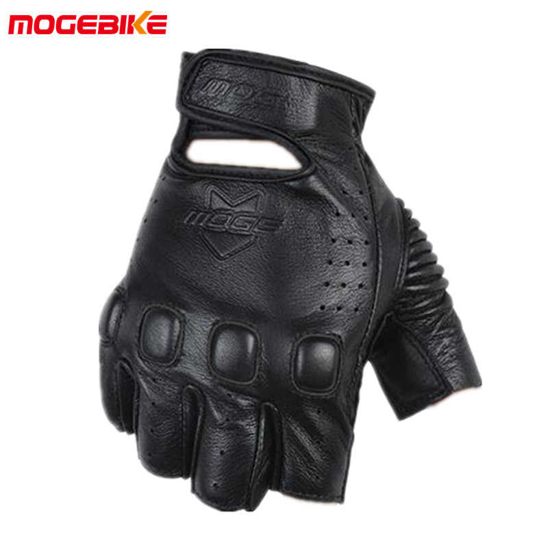MOGEBIKE Leather Motorcycle Gloves Motocross Off-Road Racing Gloves Motorcycel Riding Half Finger Gloves Luva Couro Motoqueiro