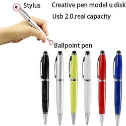 Personnaliser Logo 6 couleur stylo modèle 8GB 16GB USB lecteur Flash assez disque mémoire de stockage stylo bâton Flash USB 2.0 clé USB travail cadeau