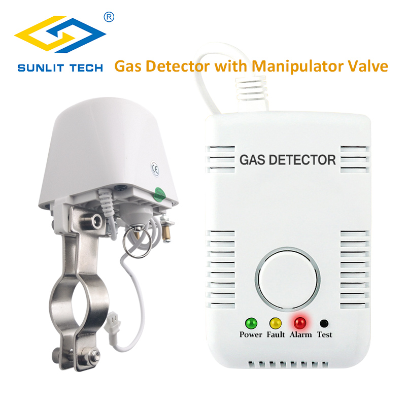Portable Natural Gas Alarm LPG Detector For Home Gas Leak Sensor Monitor With Automatic Manipulator Valve DN15 To Shut Off Pipe