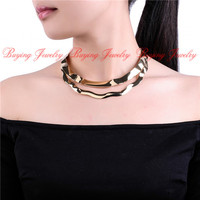 Fashion Jewelry Punk Style Silver Gold Metal Curved Smooth Chunky Bib Collar Necklace Lady Best Friend