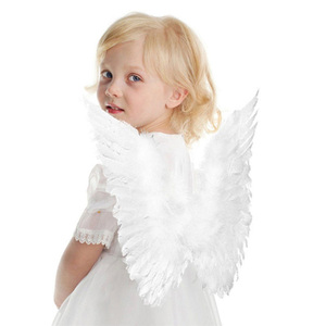 20F# Adult Kid Angel Wings Feather Fairy Night Party Fancy Dress Costume Cosplay Prop Halloween Cosplay Wing Party Supplies(China)