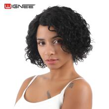 Wignee Short Human Hair Wigs For Black Women Jerry Curl Peruvian Remy Hair Wigs 3 Colors 1B#/30#/99J Natural Glueless Curly Wigs