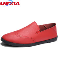 UEXIA Men S Moccasins Summer Spring Leather Shoes Flats Breathable Comfortable Casual Shoes Handmade Fashion Lace