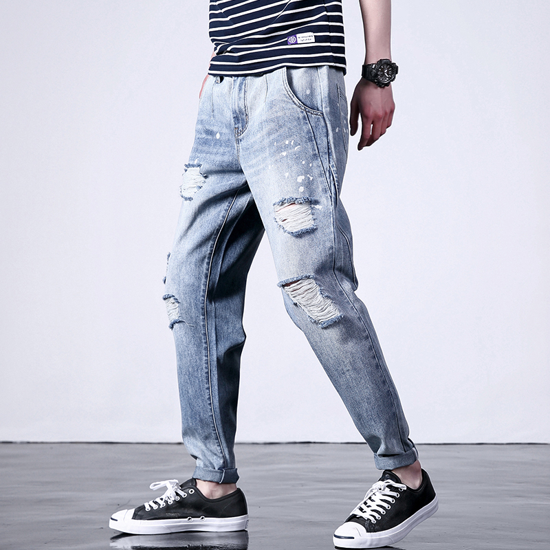Fashion Harem Casual Jeans Men Clothes Hole Ripped Distressed Hip Hop Male Denim Loose Trousers For Mens Pencil Clothing