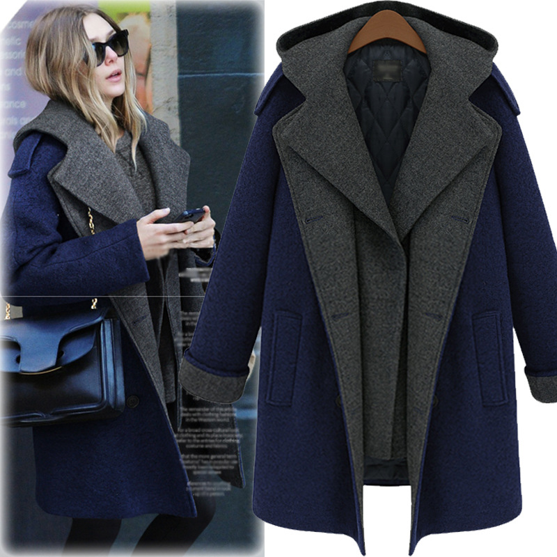 2019 New Spring Women's Slim Large Size Korean Version Long Woolen   Trench   Coat Temperament Winter Coat For Women