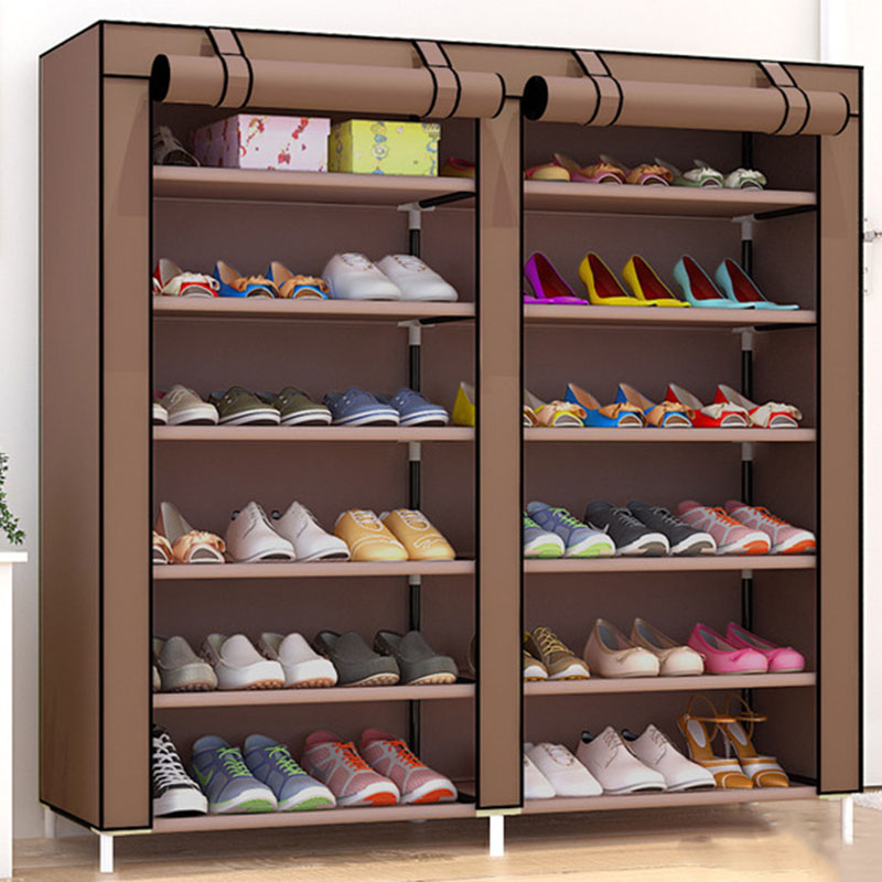 Double Row DIY Shoe Rack Home Assembly Multi-layer Dormitory Storage Dustproof Shoes Shelf Space-saving Cloth Shoe Cabinet