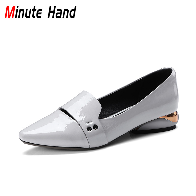 Minute Hand 2018 New Fashion Genuine Patent Leather Pumps Strange Chunky Low Heels Shoes Slip On Pointed Toe Pumps Big Size 42 fashion women s pumps with strange heels and patent leather design