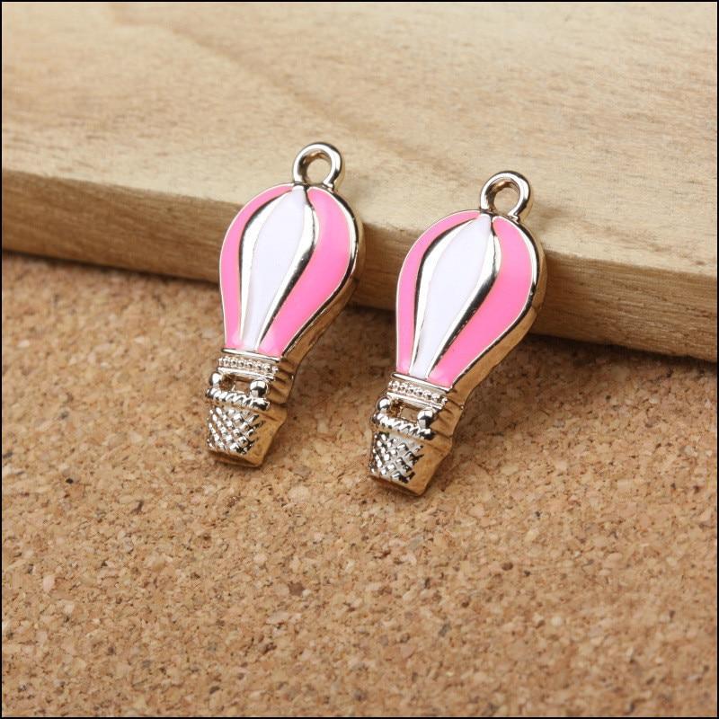 Wholesale 50PCS Gold Tone Enamel Alloy Metal Bracelet DIY Charm Pendants Pink&White Fire Balloon Oil Drop Fashion Necklace Charm
