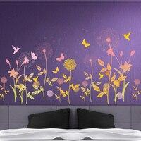 Garden Flower Butterfly Dandelion Wall Sticker Wall Decals Bedroom Living Room Background Art Home Decor Poster