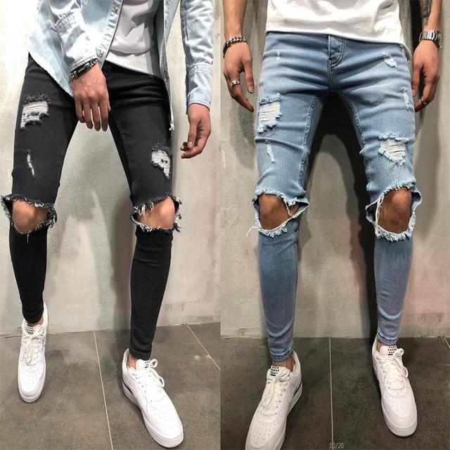 ba4a4cbf4 2018 de Moda de nova Streetwear dos homens Jeans Skinny Do Vintage Cor Azul  Destruído Rasgado