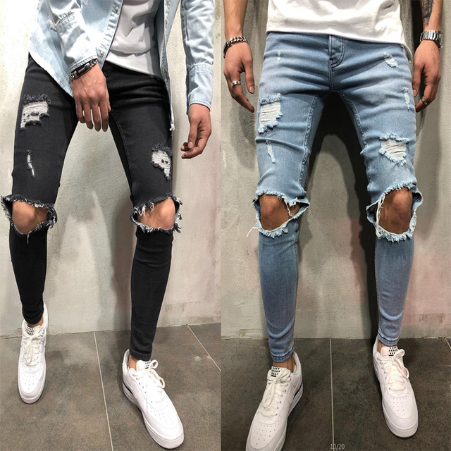 cd6e92d324 2018 nueva moda Streetwear hombres Jeans Vintage Color azul flaco destruido  Ripped denim Pantalones Hombre Hip