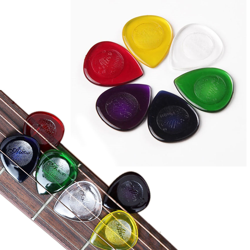 10 Pcs Alice Electric Bass Guitar Picks Durable Transparent Pure Color Water Drop Plectrum 1.0mm 2.0mm 3.0mm Thickness Optional