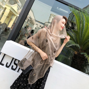 Image 2 - Brand 2020 Luxury Beads Silk Wool Scarf For Women Shawls High Quality Pashmina Girls Scarves Wrap Bandana Foulard Femme Hijab