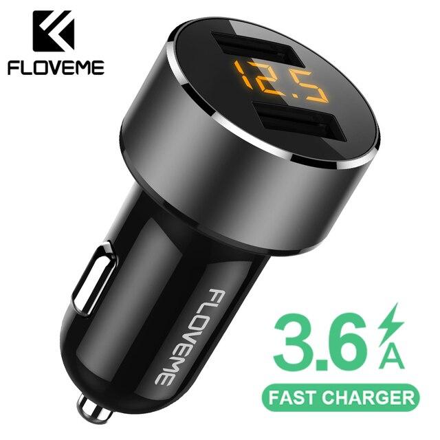 FLOVEME 18 W cargador de coche USB para iPhone Xiaomi cargador de coche de doble puerto cargador USB 3.6A cargador de coche de carga rápida para teléfono móvil