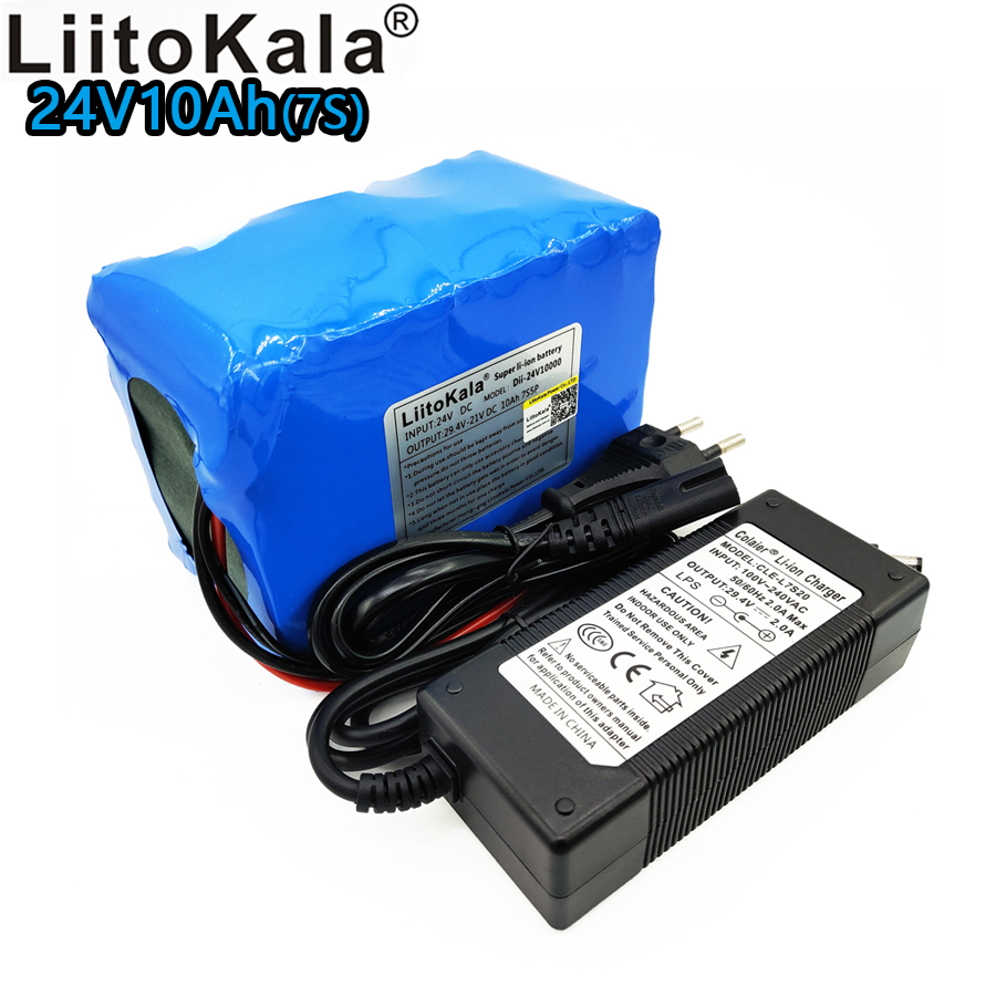 Liitokala 24V 10000mAh lithium battery pack <font><b>29.4V</b></font> <font><b>10Ah</b></font> battery 7S 18650 bms 7S5P 15A discharge mechanical power supply image