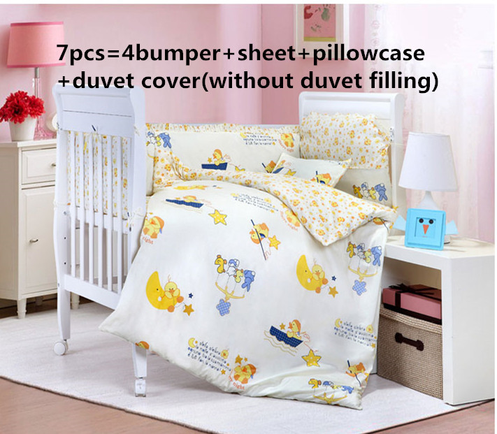 Promotion! 6/7PCS Cartoon Baby Bedding Set 100% Cotton ,Cartoon Pattern Very Cute , 120*60/120*70cm