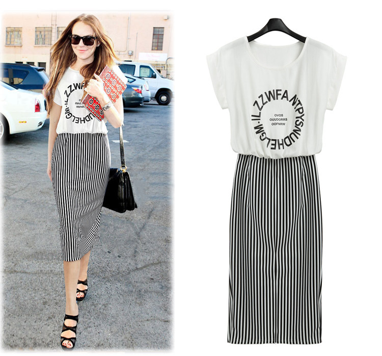 2019Summer Striped Dress Casual Letters Knee Length Dresses Women Fashion Contrast Color Plus Size Free Shipping