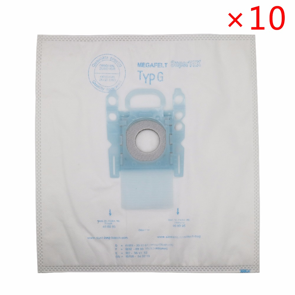 10pcs Vacuum Cleaner Dust Bag Type G For Bosch Microfibre GXXL GXL MegaAir SuperTex BBZ41FGXXL For SIEMENS BSG6 BSG7 BSGL3126