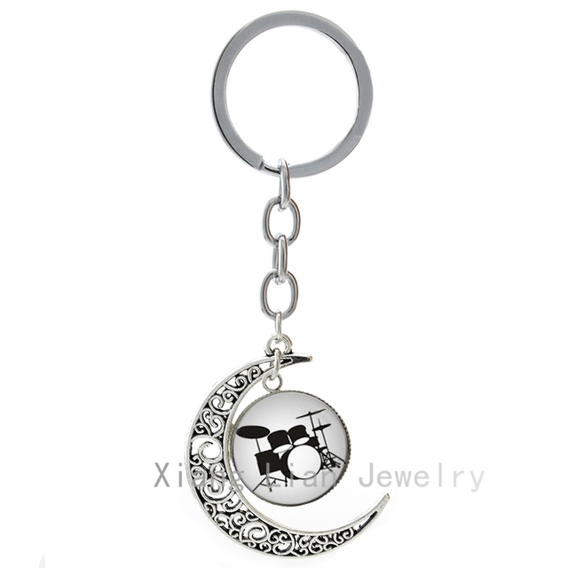 984039d729 Drum Kit keychain popular DJ Turner Mixer Musian jewelry Drum Set  silhouette mus rock band singer punk key chain ring T595