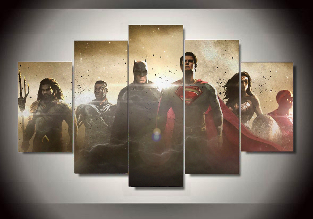 Unframed 5 piece Justice League painting wall art children\'s room ...