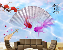 beibehang High - end fashion 3d wallpaper poetic color colorful goldfish TV wall decoration painting papel de parede paper