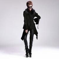 2017 new Steampunk Goth GOTHIC retro pattern detachable fur collar black velvet slim long coat