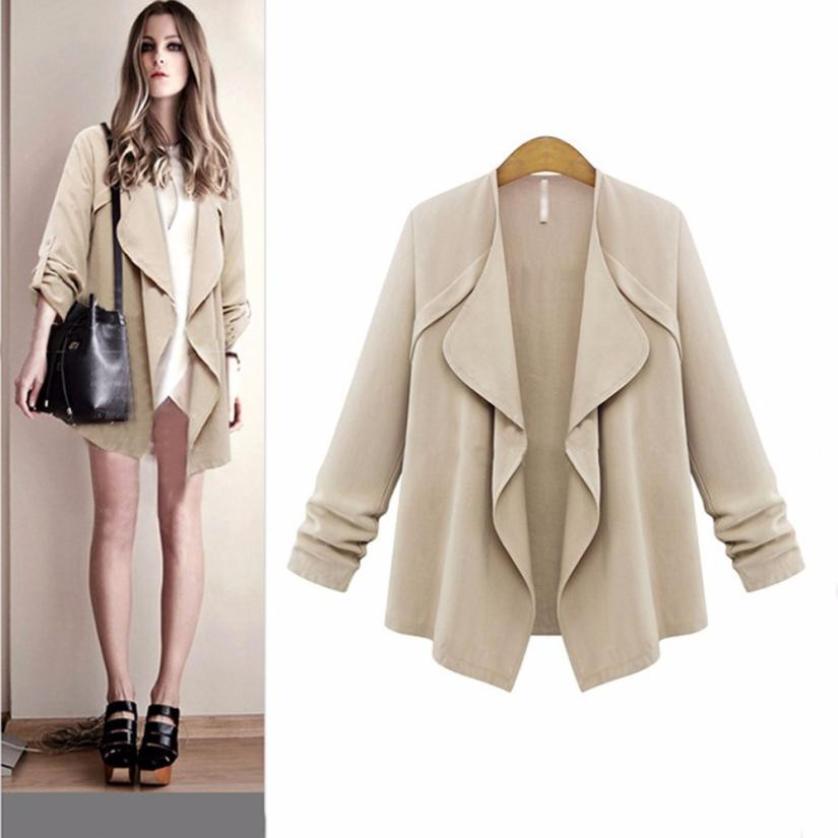 snowshine YLI Women Autumn Spring Solid Long Sleeve Loose Plus Coat Cardigan