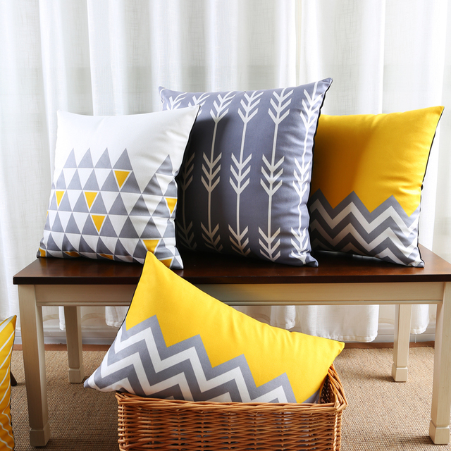 dee8d55a37ff Gray Decorative Throw Pillows Case Sofa Modern Geometric Cushion Cover Home  Decor Grey Velvet Yellow Chair