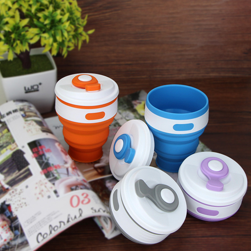 Collapsible Food-grade Silicone Cup with cover, Foldable travel mug, water coffee tea telescopic cup for camping, picnic, lunch
