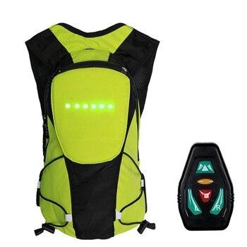 2019 nova unisex ciclismo mochila led luz de advertência segurança sinal traseiro usb controle remoto sem fio led colete saco sacos bicicleta