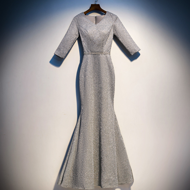 2019 Special Occasion Dress Women Elegant Prom Dress Party Formal Evening Dress Grey Mermaid Princess Evening Dresses ES2522