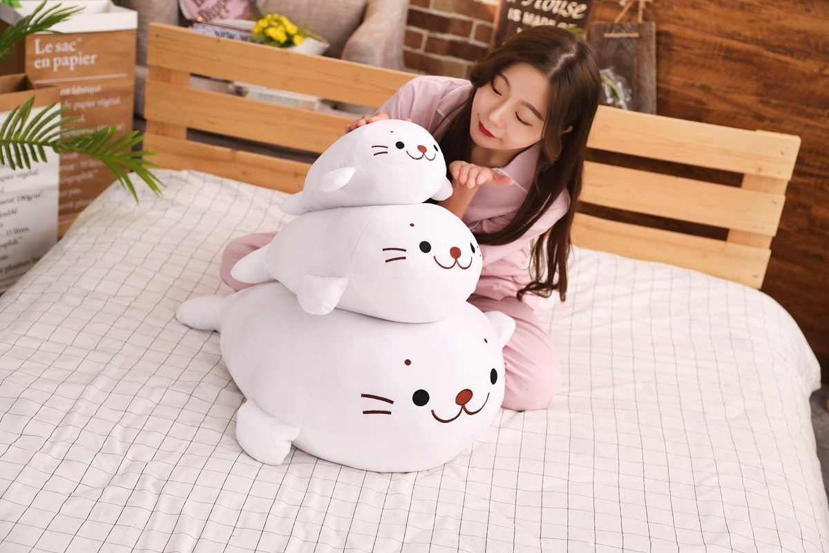 ホット 2019 新かわいいぬいぐるみダウン綿アシカぬいぐるみかわいい動物枕人形ソファクッション子供の誕生日プレゼントおもちゃ