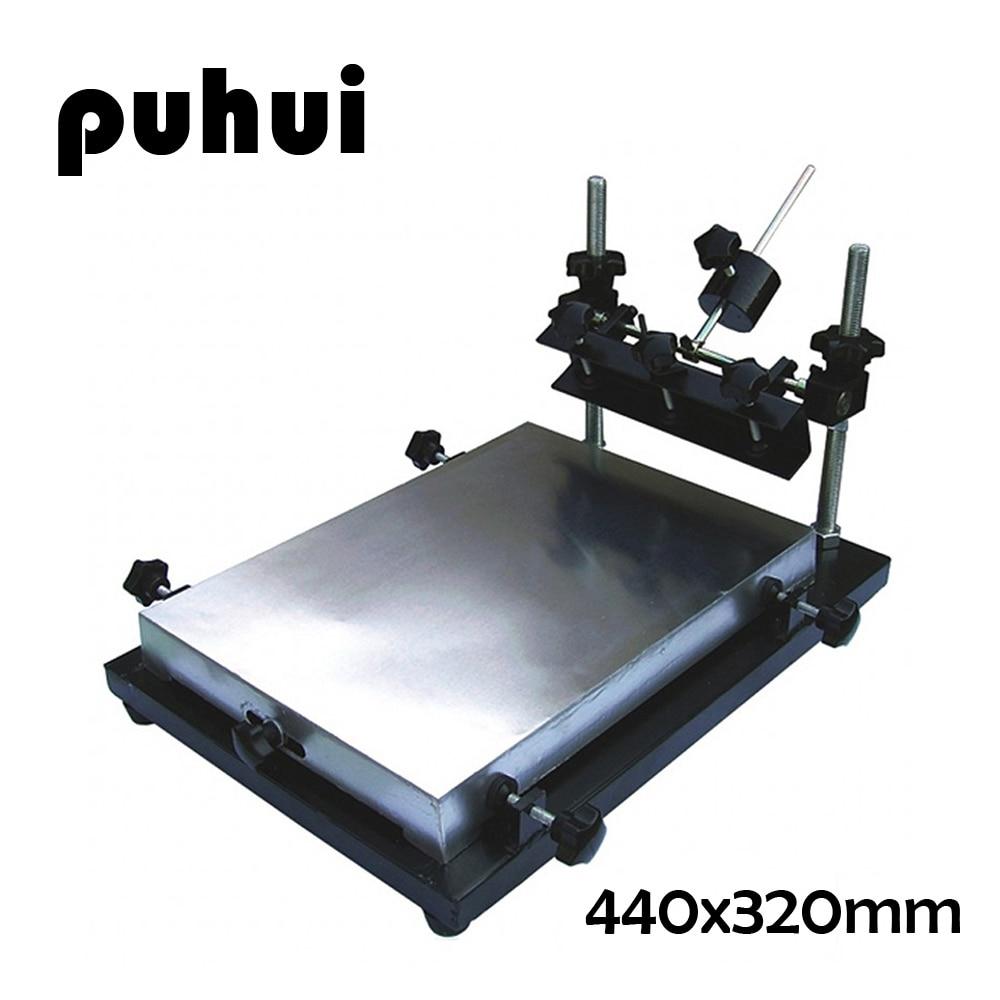 PUHUI Manual Solder Paste Printer SMT Stencil Printer 440x320mm Middle Size Manual Stencil Printer Machine Silk Printing Machine