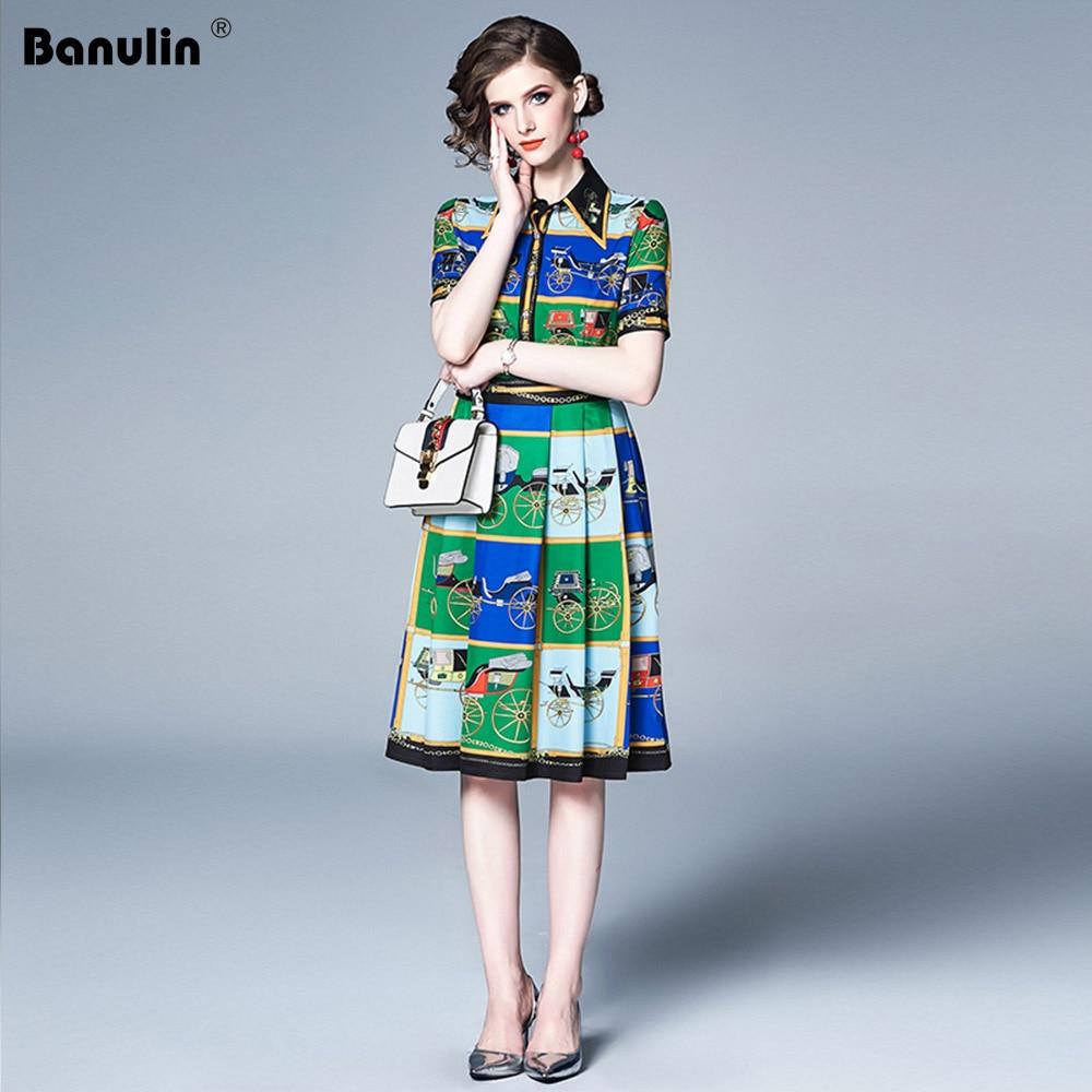 Banulin Runway New Summer Women Vestidos 2019 Gorgeous Floral Print Short Sleeve Midi Dresses Elegant Robe Boho Hot Dress