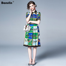 Banulin Runway New Summer Women Vestidos 2019 Gorgeous Floral Print Short Sleeve Midi Dresses Elegant Robe Boho Hot Dress