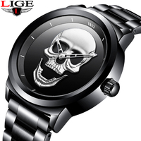 LIGE Men's Watches Creative Skull Fashion Watch Men Sports Waterproof Clock Men Full Steel Quartz Watch Relogio Masculino+Box