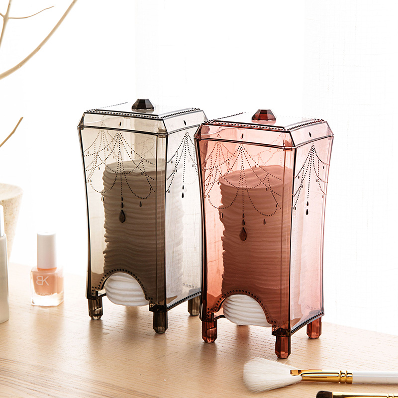 MeyJig Makeup Organizer Makeup Sponges Cotton Pad Storage Box Bathroom Transparent Cosmetic Storage Case Container