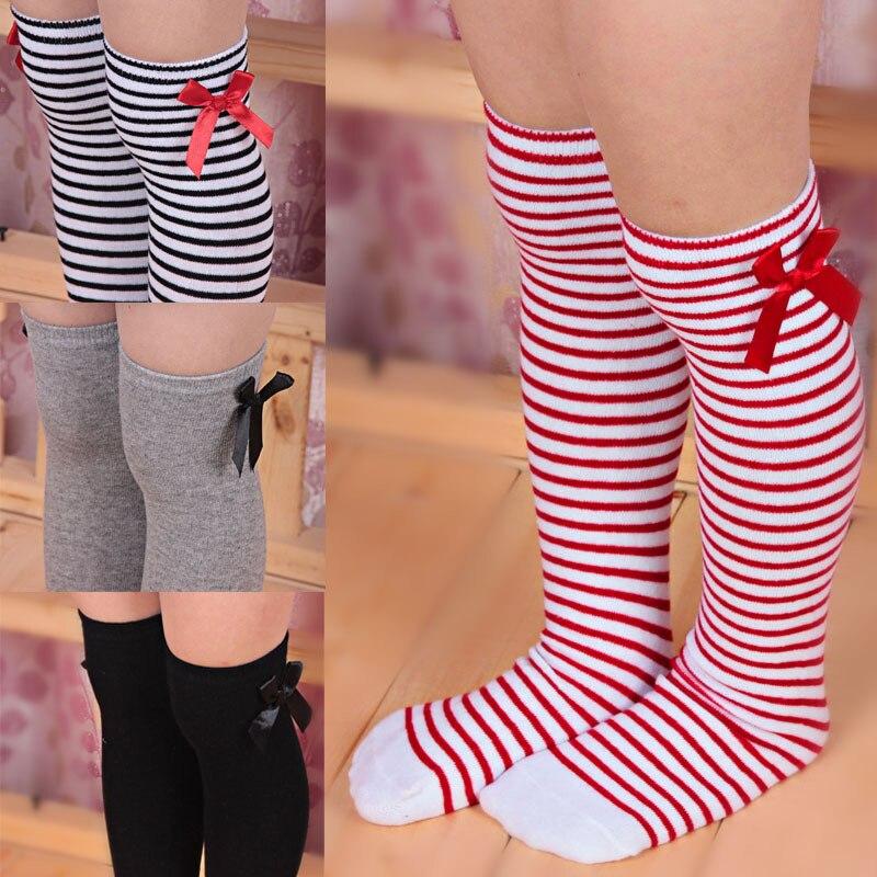 1 Pair Girls Kids Toddler Bow Knee High Socks Baby Girl Spring Autumn Sport Socks White Red Striped Princess Socks For 1-8 Years
