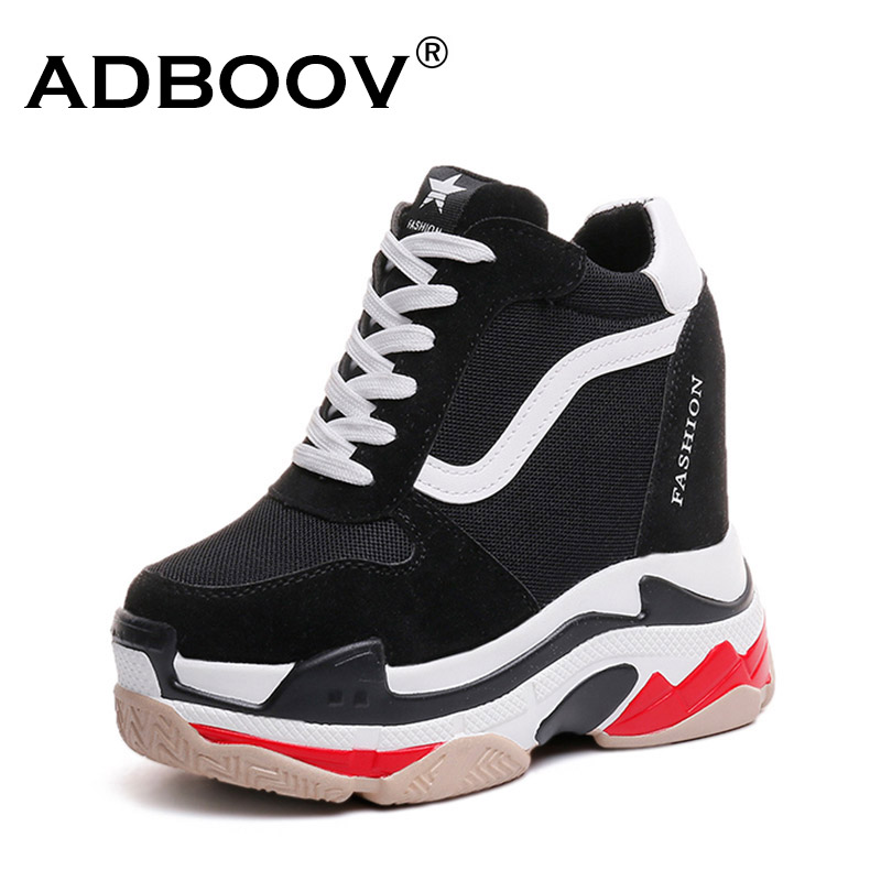 Detail Feedback Questions about ADBOOV Platform Wedges Sneakers Women  Height Increasing 13 CM Casual Shoes Lace Up Ladies Chunky Shoes Black  Chaussures ... ffc2096632b6