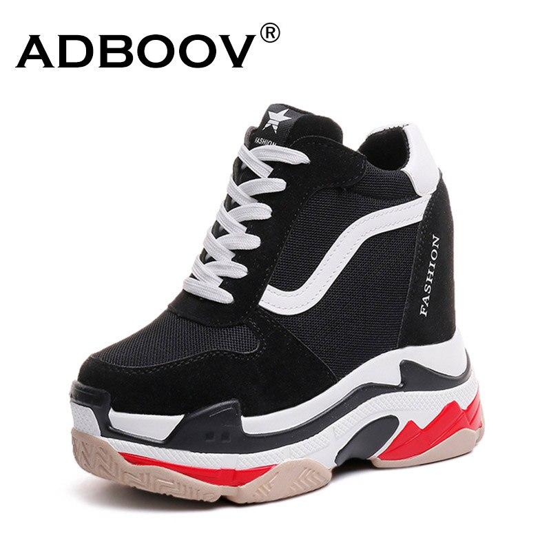 ADBOOV plataforma cuñas zapatillas de deporte de las mujeres aumento de altura 13 cm casuales zapatos de encaje-Señoras grueso Zapatos negro Chaussures Femme