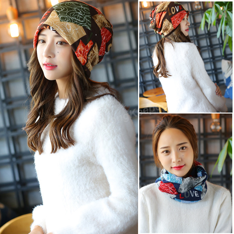 Women Knit Warm Hat Scarf Two Used Woman Flora Cap Beanie for Girl Autumn Caps Bonnet