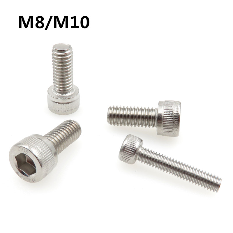 M8/M10 Inner Hex Socket Bicycle Bolt DIN912 304 Stainless Steel Hexagon Socket Head Cap Screws Metric Thread 1 11