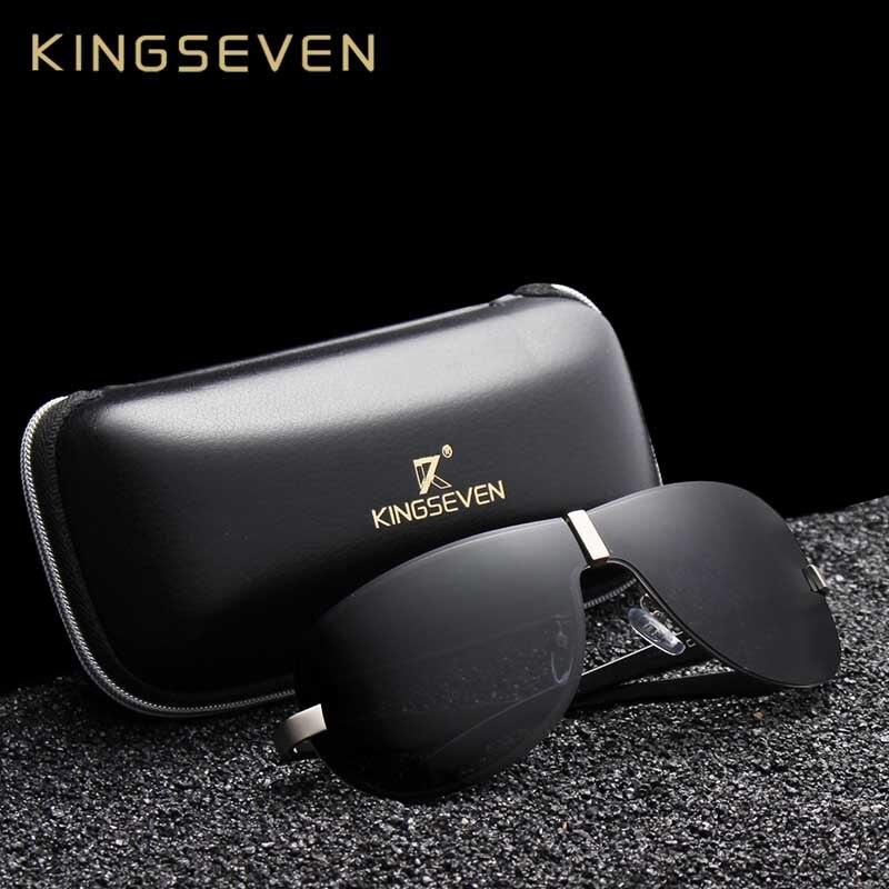 KINGSEVEN Aluminum Polarized Driving <font><b>Sunglasses</b></font> for Men glasses Brand Designer with High Quality Big frame rimless sun glasses