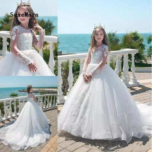 2018 Princess Flower Girl Dresses Ball Gown Jewel Long Sleeve Sweep Train Girls Pageant Dresses With Applique Communion Gown elegant white flower girl dresses off shoulder 1 2 sleeve sweep train girls pageant dresses with lace top for wedding